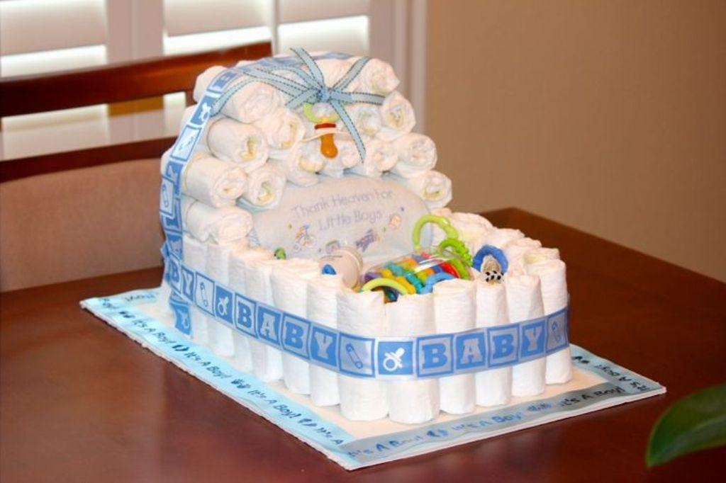 Baby diaper cake for Baby shower cake decoration idea